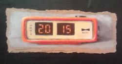 "Day 43: ""The beginning"", acrylic on hardboard, 8cm x 21cm (sold)"