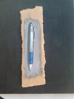 "Day 45: ""Short story"", acrylic on hardboard, 6,5cm x 21cm (sold)"