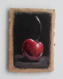 "Day 63: ""Cherry"", acrylic on cardboard, 7,5cm x 10,5cm (sold)"