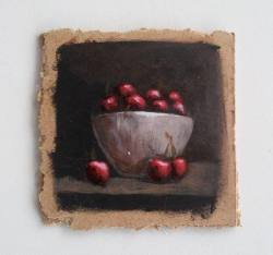 "Day 62: ""Cherry bowl"", acrylic on hardboard, 9cm x 9cm (sold)"