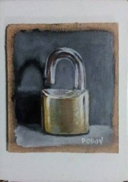 "Day 70: ""Padlock"", acrylic on hardboard, 8cm x 9cm (sold)"