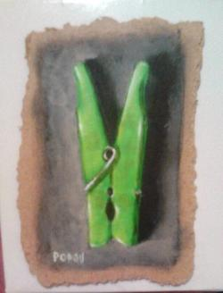 "Day 57: ""Green peg"", acrylic on hardboard, 8cm x 11cm (sold)"
