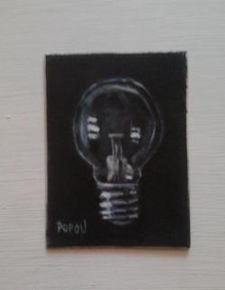 "Day 54: ""Idea"" - acrylic on cardboard, 6cm x 8,5cm (sold)"