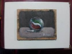 "Day 71: ""Marble ball"", acrylic on hardboard, 6cm x 8cm (sold)"