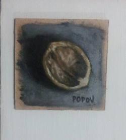 "Day 67: ""Nutshell"", acrylic on hardboard, 8cm x 8cm (sold)"