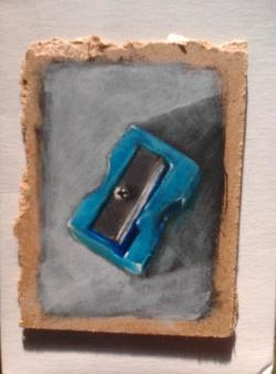 "Day 56: ""Pencil sharpener"", acrylic on hardboard, 7cm x 10cm (sold)"