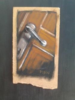 "Day 44: ""Door"" - acrylic on hardboard, 9cm x 15cm (sold)"