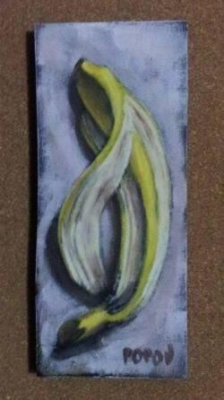 """Day 77: """"She said"""", acrylic on MDF board, 7cm x 16,5cm (sold)"""