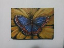"""Butterfly"", acrylic on MDF board (8,5cm x 12,5cm)"