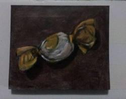 "Day 78: ""Candy"", acrylic on MDF board, 7,5cm x 9cm (sold)"