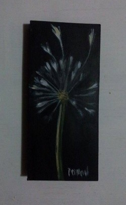 "Day 87: ""Dandelion"", acrylic on MDF board, 6cm x 13cm (sold)"