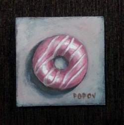 """Day 74: """"Donut"""", acrylic on MDF board, 9,5cm x 9,5cm (sold)"""