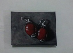 "Day 80: ""Earrings"", acrylic on MDF board, 6,5cm x 9cm (sold)"
