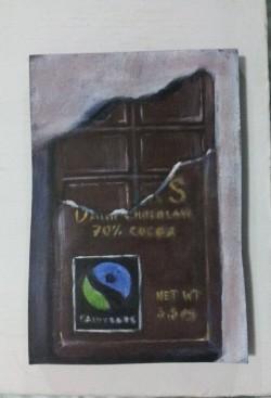 """Day 94: """"Fair"""", acrylic on MDF board, 9,5cm x 14cm (sold)"""