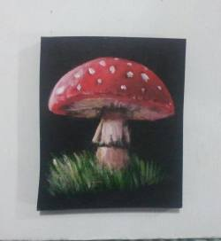 """Day 88: """"Mushroom"""", acrylic on MDF board, 10cm x 12cm (sold)"""