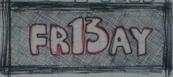 """Friday 13"", pen on paper (3cm x 6cm)"