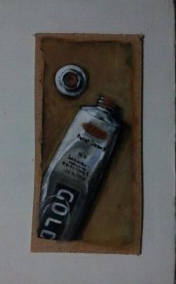 "Day 84: ""Golden acrylic paint"", acrylic on hardboard, 7,5cm x 15,5cm (sold)"