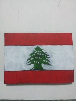 "Day 96: ""Lebanon flag"", acrylic on MDF board, 9cm x 12cm (sold)"