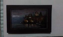 """Day 81: """"Ohrid at dawn"""", acrylic on MDF board, 8cm x 12,5cm (sold)"""