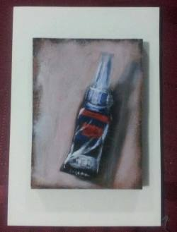 "Day 75: ""Superglue"", acrylic on MDF board, 7cm x 10cm (sold)"
