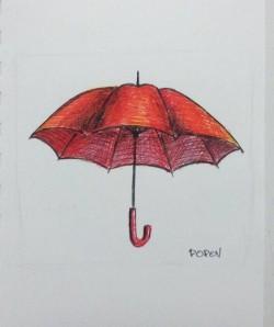 "Day 90: ""Safe place"", pen on paper, 10,5cm x 10,5cm (sold)"
