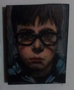 "Day 82: ""Viktor"", acrylic on MDF board, 7cm x 9cm (sold)"