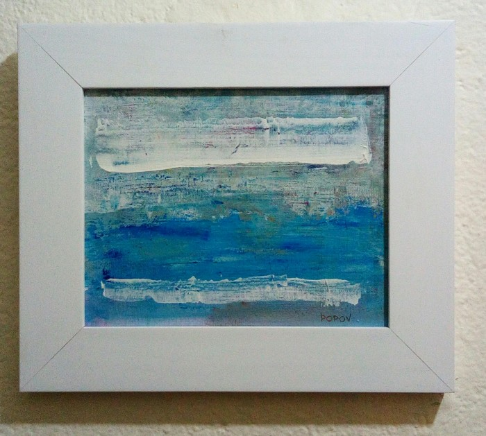 """Above the blue"", acrylic on canvas mounted on board, 16cm x 20cm (available)"