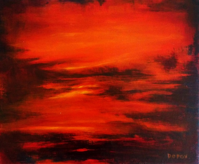 """""""Pale sun is shimmering"""", mixed media on canvas, 25cm x 30cm (available)"""